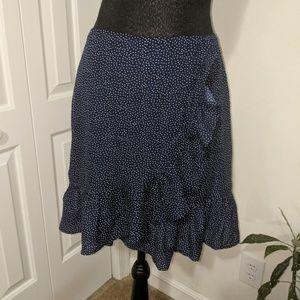 GB navy blue and white polkadots raffles skirt